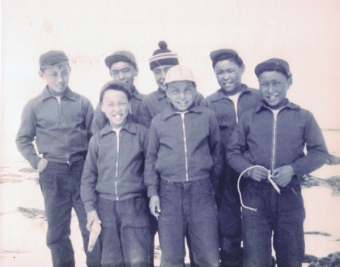 "Classmates at the Sir Joseph Bernier Federal Day School in Chesterfield Inlet, 1960.  (PHOTOGRAPH COURTESY OF P. IRNIQ FOR THE ""WE WERE SO FAR AWAY"" EXHIBIT)"
