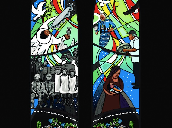 "Here's a detail from the stained glass window commemorating the legacy of Indian Residential Schools. This stained glass window, designed by Métis artist Christi Belcourt, is permanently installed in Centre Block on Parliament Hill. ""In 2008, on behalf all Canadians, Prime Minister Stephen Harper offered a formal Apology to former students of Indian Residential Schools, their families and communities that acknowledged the impacts of those schools,"" AANDC's former minister John Duncan said in November 2012. ""Today we continue on the path of reconciliation as we dedicate this new stained glass window. The window is a visible reminder of the legacy of Indian Residential Schools; it is also a window to a future founded on reconciliation and respect.""  (PHOTO COURTESY OF AAND)"