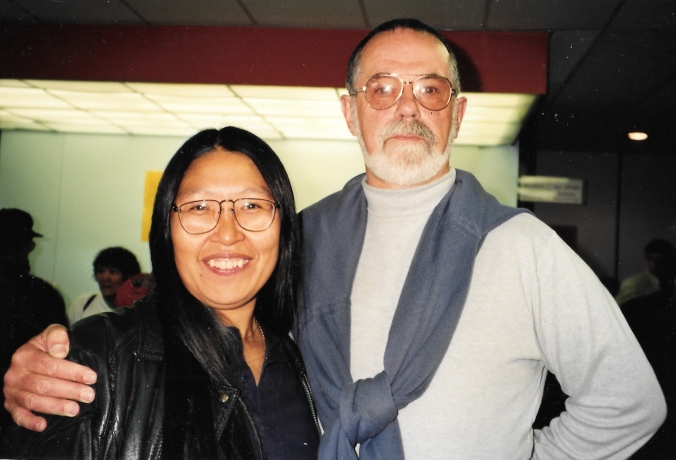 My teachers at the intensive Inuktitut course held at Nunavut Arctic College in 1993: Alexina Kublu, who went on to become Nunavut's Official Languages Commissioner, and Mick Mallon, who pioneered Inuktitut teaching in the Eastern Arctic. (PHOTO BY JANE GEORGE)