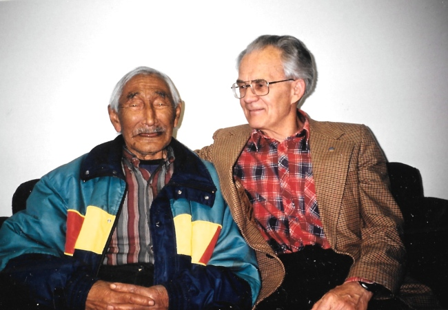 Etooangat and Dr. Otto Schaefer, who worked together to combat illness around Pangnirtung during the 1950s, sit together in the community elders' centre in May 1993. (PHOTO BY JANE GEORGE)