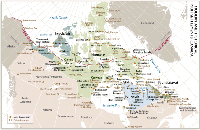 This map from Aboriginal Affairs and Northern Development Canada shows the Inuit regions of northern Canada.