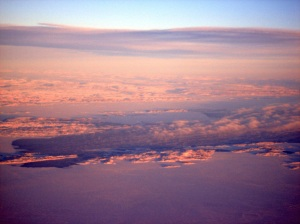 An aerial view over Frobisher Bay at sunset. (PHOTO BY JANE GEORGE)