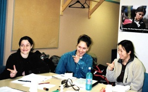 """Jocelyn Barrett, Sylvia Cloutier and Siu-Ling Han participate in an exercise during the 1999 Intermediate Inuktitut class at Nunavut Arctic College in Iqaluit, which involves """"shooting"""" the right person, according to the command in Inuktitut. (PHOTO BY JANE GEORGE)"""