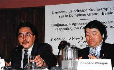 Makivik Corp. president Simiunie Nalukturuk and vice-president Zebedee Nungak at the 1994 signing of an agreement-in-principle on the future construction of the Great Whale hydroelectric project. (PHOTO BY JANE GEORGE)