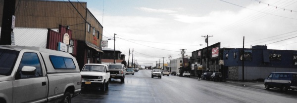 The main street in Nome, Alaska, 1995. (PHOTO BY JANE GEORGE)
