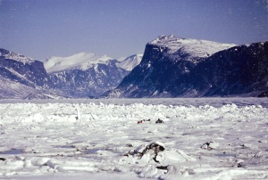 A snowmobile heads out over the sea ice in Pangnirtung's fiord in May 1993. (PHOTO BY JANE GEORGE)