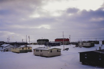 The back view from the apartment where I stayed in Puvirnituq in November 1991. (PHOTO BY JANE GEORGE)