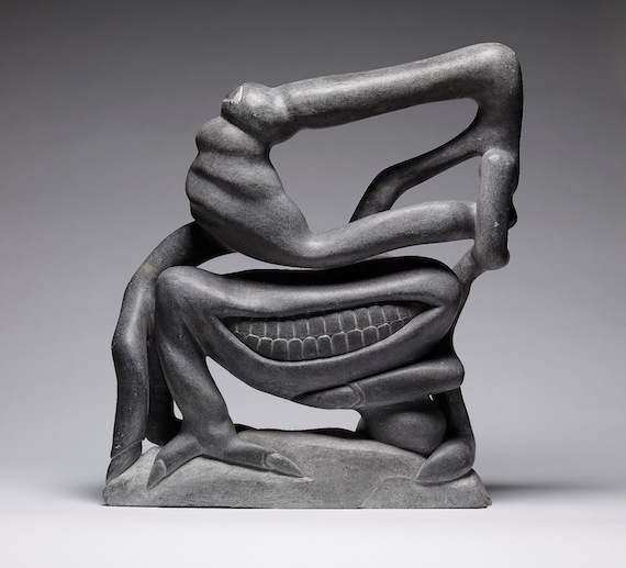 "The late Puvirnituq sculptor Eli Sallualu Qinuajua explored surrealism in many of his carvings, which include this carving called ""Fantastic Figure."" (IMAGE/ AGO)"