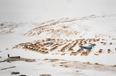 From the top of the hill near Salluit, the community below, 1996. (PHOTO BY JANE GEORGE)