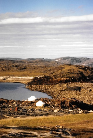 A view down to the water near Kangiqsujuaq in August, 1997. (PHOTO BY JANE GEORGE)