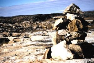 An inuksuk on Assukaaq Island near Kangiqsujuaq. (PHOTO BY JANE GEORGE)