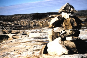 An inuksuk on Assukaaq Island near Kangiqsujuaq. (PHOTO BY JANE GEORGE)