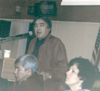 Aqqaluk Lynge makes his pitch to ICC delegates in Nome in July, 1995. (PHOTO BY JANE GEORGE)