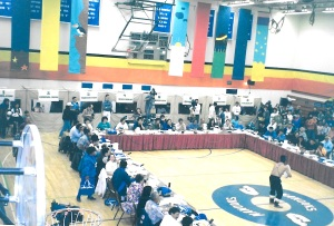 Inuit Circumpolar Conference meeting takes place in the high school gymnasium in Nome, Alaska, in July, 1995. (PHOTO BY JANE GEORGE)
