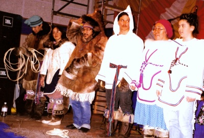 I am photographing this fashion show of traditional closing when I am dragged out and threatened by a Makivik lawyer at the 1996 Makivik AGM in Inukjuak. (PHOTO BY JANE GEORGE)