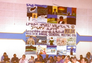 I stare at this large mural as I am getting denounced during the Makivik AGM in Inukjuak in 1996. (PHOTO BY JANE GEORGE)