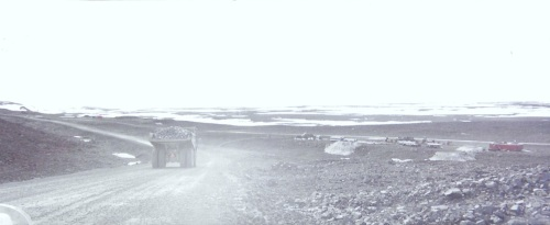 A truck rolls along a road outside the Raglan mine in Nunavik in the mid-1990s. (PHOTO BY JANE GEORGE)