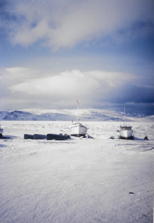 Boats are frozen in the ice, awaiting warmer days, in the spring of 1996. (PHOTO BY JANE GEORGE)