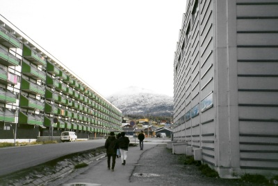 A look down one of Nuuk's streets in 1995. (PHOTO BY JANE GEORGE)
