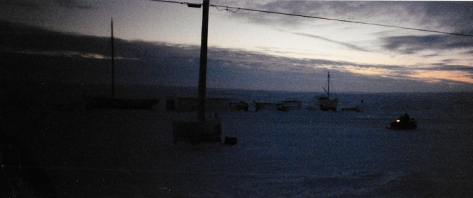 It's hard to get my bearings in Igloolik which never gets lighter than this in the middle of the day. (PHOTO BY JANE GEORGE)