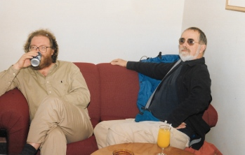 My fellow student Stuart Innis, a research scientist with the Department of Fisheries, who died in a helicopter crash near Resolute Bay, Nunavut in 2000, and Mick Mallon, longtime Inuktitut teacher, relax after a day in the intensive Inuktitut course held at Nunavut Arctic College in Iqaluit in 1993. (PHOTO BY JANE GEORGE)