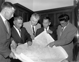 George Koneak was often in the middle of negotiations with the federal government in the 1950s and 1960s. Left to right: Koneak, Fort Chimo, QC.; Shinuktuk, Rankin Inlet, NWT.; John Georege Diefenbaker, Prince Rupert, Sask.; Jean Ayaruark, Rankin Inlet, NWT.; Abraham Ogpik, Aklavik, NWT. In Ottawa, Ontario, Canada, May 1959 Title / Titre : Left to right: George Koneak, Fort Chimo, Quebec.; Shinuktuk, Rankin Inlet, Northwest Territories.; John Georege Diefenbaker, Prince Rupert, Saskatchewan.; Jean Ayaruark, Rankin Inlet, NWT; Abraham Ogpik, Aklavik, NWT. In Ottawa, Ontario, May 1959 (PHOTO/ ARCHIVES OF CANADA/ Ref. No. MIKAN 3217847