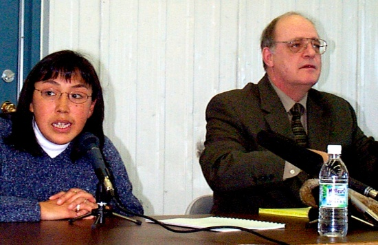 Maggie Emudluk, mayor of Kangiqsualujjuaq, with coroner Jacques Bérubé (PHOTO BY JANGE GEORGE)