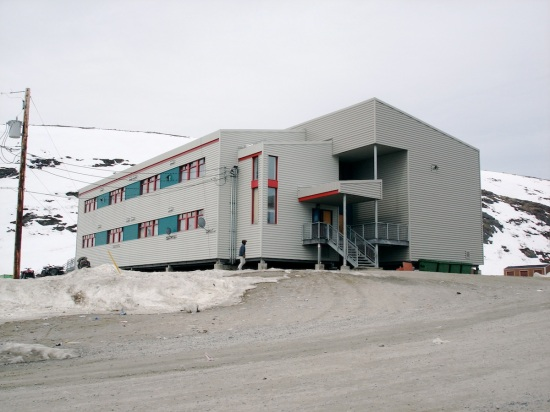 The addition to Satuumavik School — the only part left undamaged by the avalanche — is an apartment complex in 2007. (PHOTO BY JANE GEORGE)