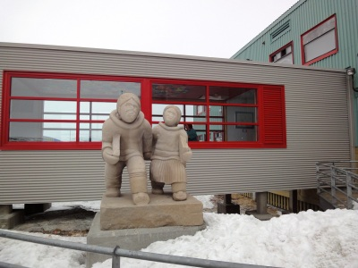 This large carving stands in front of Akulivik's school. (PHOTO BY JANE GEORGE)