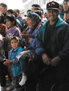Kangiqsualujjuaq residents welcome Quebec Premier Lucien Bouchard, September, 1997. (PHOTO BY JANE GEORGE)