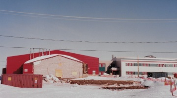 The gymnasium at Satuumavik School in Kangiqsualujjuaq has already been torn down three months after the avalanche. (PHOTO BY JANE GEORGE)