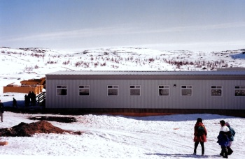 The new school in Kangiqsualujjaq is open by May, 1999. (PHOTO BY JANE GEORGE)