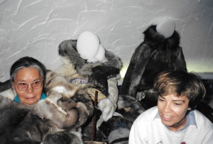 Louise Beaudoin, Quebec's minister of culture and communications, takes in the exhibits at the Daniel Weetaluktuk museum in Inukjuak in June, 1998. (PHOTO BY JANE GEORGE)