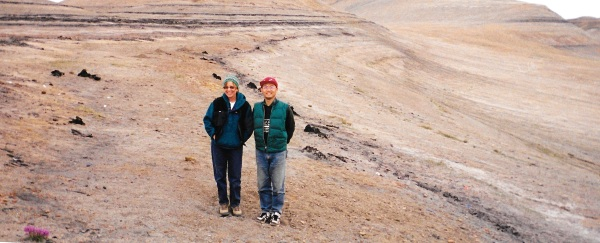 Jane George and Yusheng Liu in the Fossil Forest, July 1999.