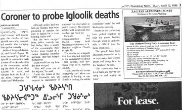 A Nunatsiaq News clipping about two men who die in police custody in Igloolik in 1996.