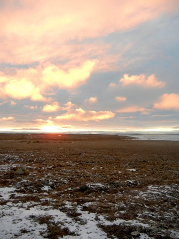 The sun sets near Cambridge Bay in late September. (PHOTO BY JANE GEORGE)