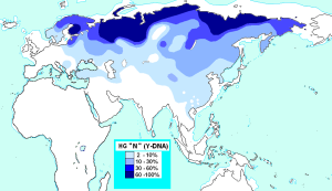 "This map shows the spread of the genetic marker Haplo group N ""Y"", which goes from the northern coast of Scandinavia through Siberia towards North America."
