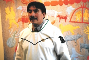 MLA Peter Kattuk wears a white silapaq to the Nunavut legislature. (PHOTO BY JANE GEORGE)