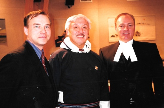 Nunavut health minister Ed Picco, Commissioner Piita Irniq and Speaker Kevin O'Brien pose in the legislature. (PHOTO BY JANE GEORGE)