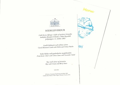 Menus from two meals during the 2003 tour.