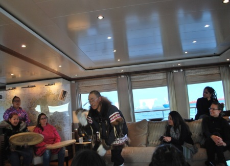 Trisha Ogina, Jerry Puglik, Tetra Otokiak and Pam Gross of Cambridge Bay preform Sept. 12 aboard the luxury yacht, the Latitude, which was awaiting refueling in Cambridge Bay. (PHOTO COURTESY OF THE KITIKMEOT HERITAGE SOCIETY)