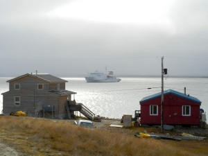The Russian-registered Akademik Sergey Vavilov, redubbed One Oceans Voyager by uneasy Canadians, at anchor Sept. 8 outside Cambridge Bay. (PHOTO BY JANE GEORGE)