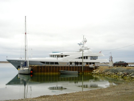 The Latitude at dock in Cambridge Bay. (PHOTO BY JANE GEORGE)
