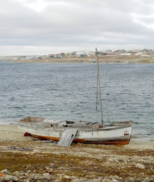 Father Steinmann's boat, the Eagle, as it sits today in Cambridge Bay. (PHOTO BY JANE GEORGE)