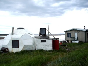 In 2008 this dome in Bathurst Inlet, Nunavut also sported a small satellite dish. (PHOTO BY JANE GEORGE)