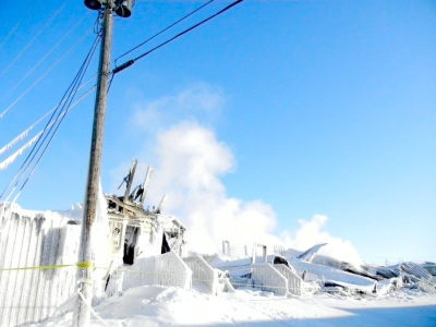 This is how the still smoking site of the Feb. 27 fire looked in early March of that year. (PHOTO BY JANE GEORGE)