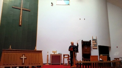 Rev. Mike Gardener, March 28, in  today's St. Jude's Anglican Cathedral. (PHOTO BY JANE GEORGE)