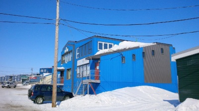This blue building houses the office of the Nunatsiaq News. (PHOTO BY JANE GEORGE)