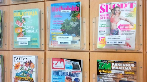 A selection of magazines that can be borrowed from a library in Finland. (PHOTO BY JANE GEORGE)