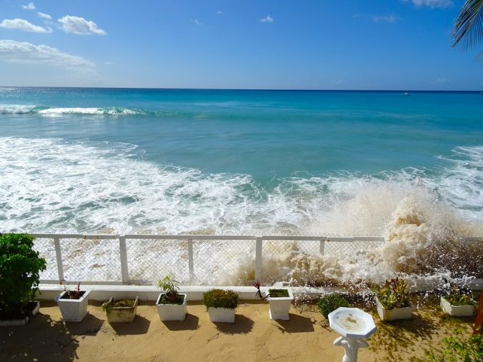 Waves pour over into a seaside home on the west coast of Barbados in February 2015. (PHOTO BY JANE GEORGE)